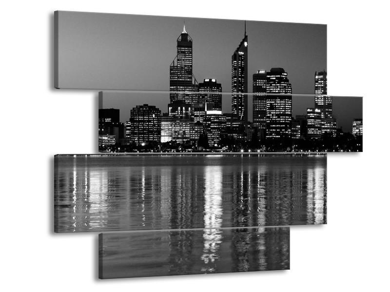 Glas schilderij Gebouw | Grijs, Zwart, Wit | 115x85cm 4Luik
