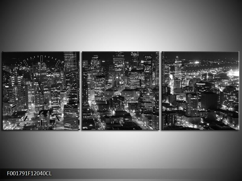Klok schilderij Gebouw | Grijs, Zwart, Wit | 120x40cm 3Luik