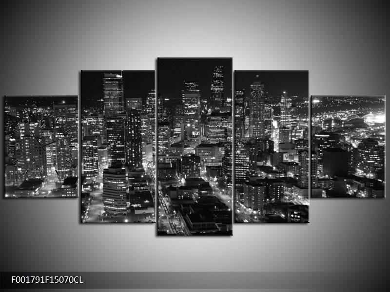 Klok schilderij Gebouw | Grijs, Zwart, Wit | 150x70cm 5Luik