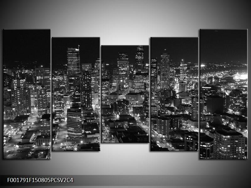 Klok schilderij Gebouw | Grijs, Zwart, Wit | 150x80cm 5Luik