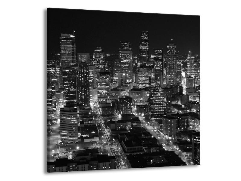 Canvas schilderij Gebouw | Grijs, Zwart, Wit | 70x70cm 1Luik
