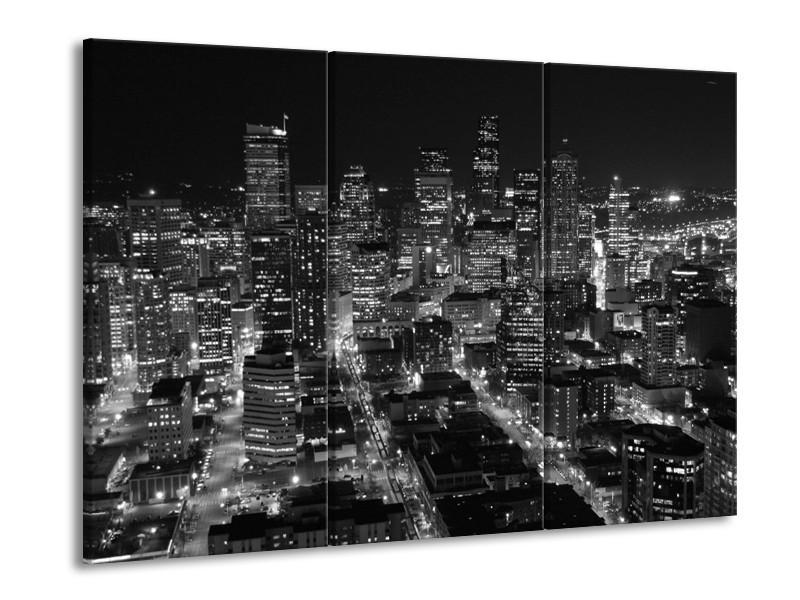 Glas schilderij Gebouw | Grijs, Zwart, Wit | 90x60cm 3Luik