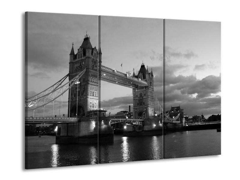 Glas schilderij Brug | Grijs, Zwart, Wit | 90x60cm 3Luik