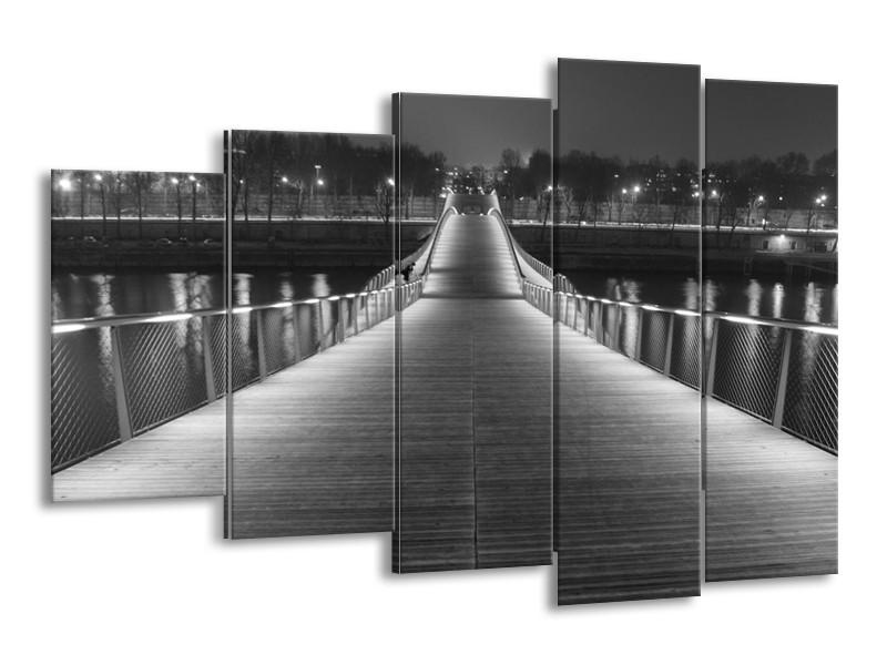 Canvas schilderij Brug | Grijs, Zwart, Wit | 150x100cm 5Luik