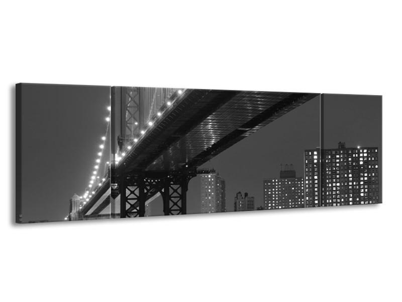 Glas schilderij Brug   Grijs, Zwart, Wit   170x50cm 3Luik