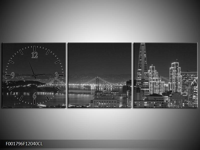 Klok schilderij Stad | Grijs, Zwart, Wit | 120x40cm 3Luik