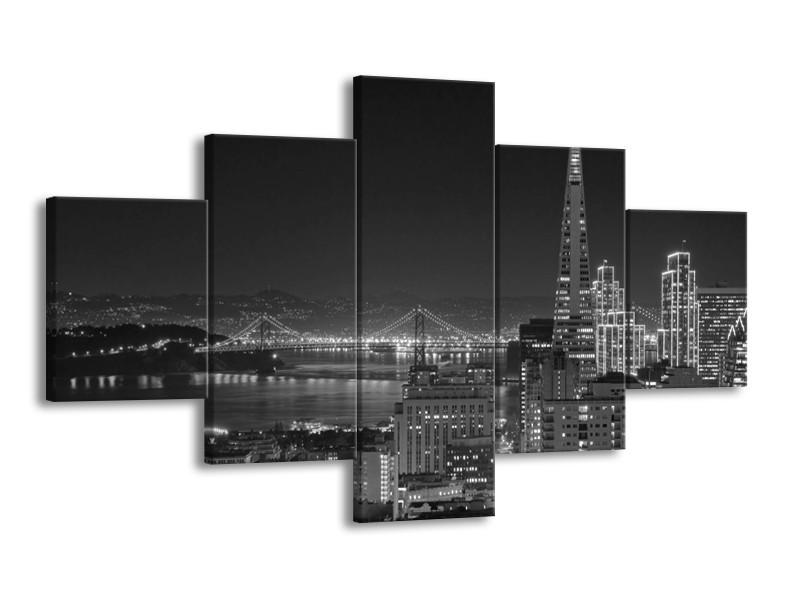 Glas schilderij Stad   Grijs, Zwart, Wit   125x70cm 5Luik