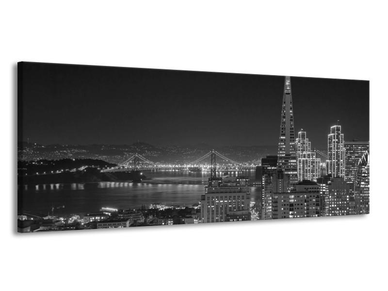 Glas schilderij Stad   Grijs, Zwart, Wit   145x58cm 1Luik