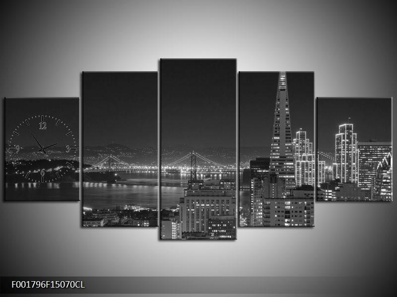 Klok schilderij Stad | Grijs, Zwart, Wit | 150x70cm 5Luik
