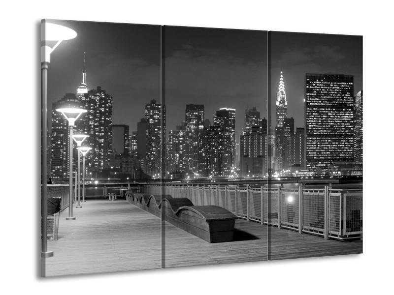 Glas schilderij Stad | Grijs, Zwart, Wit | 90x60cm 3Luik