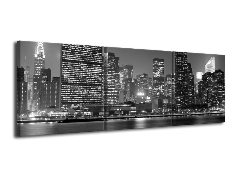 Glas schilderij Stad   Grijs, Zwart, Wit   120x40cm 3Luik