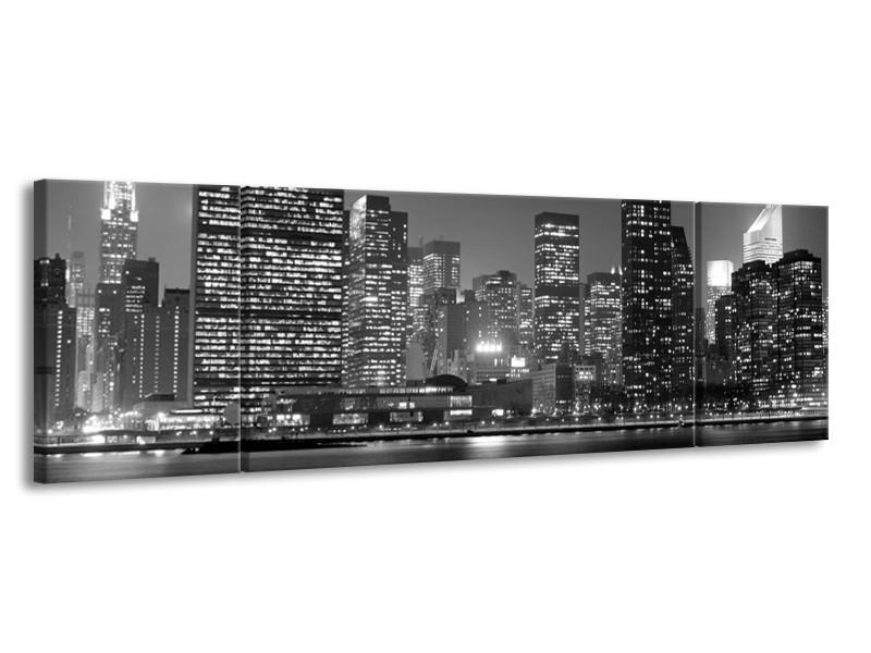Glas schilderij Stad   Grijs, Zwart, Wit   170x50cm 3Luik