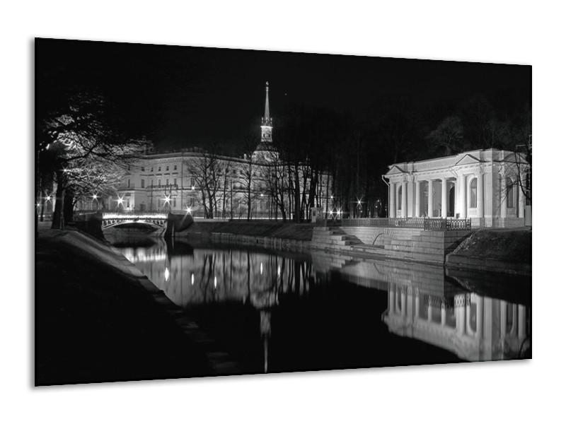 Glas schilderij Stad   Grijs, Zwart, Wit   120x70cm 1Luik