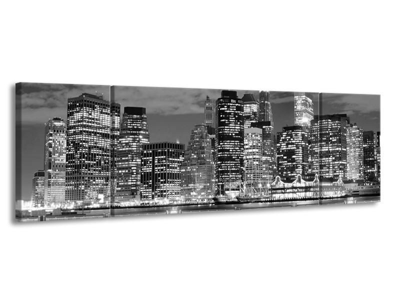Canvas schilderij New York | Grijs, Zwart, Wit | 170x50cm 3Luik