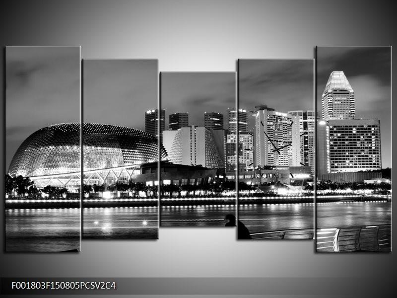 Klok schilderij Stad | Grijs, Zwart, Wit | 150x80cm 5Luik
