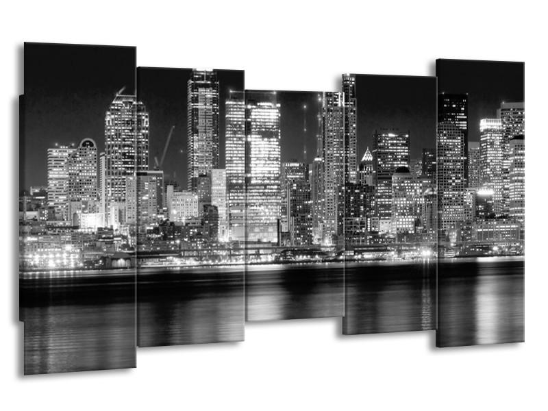 Canvas schilderij New York | Grijs, Zwart, Wit | 150x80cm 5Luik