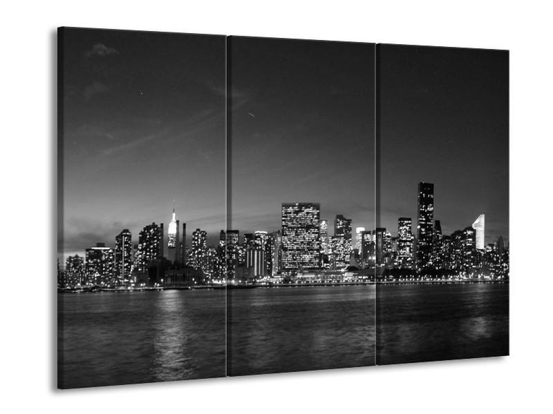 Canvas schilderij Stad | Grijs, Zwart, Wit | 90x60cm 3Luik