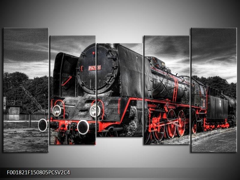 Klok schilderij Trein | Zwart, Rood, Wit | 150x80cm 5Luik