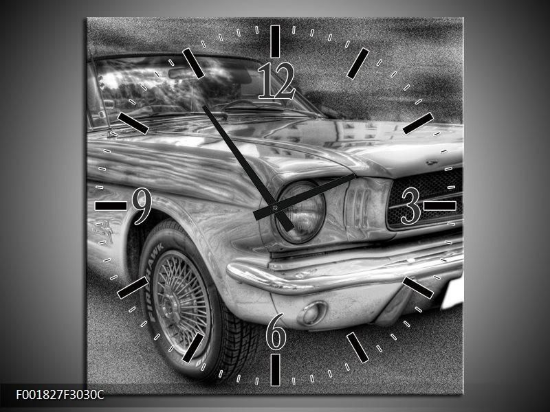 Klok schilderij Mustang   Zwart, Wit, Grijs   30x30cm 1Luik