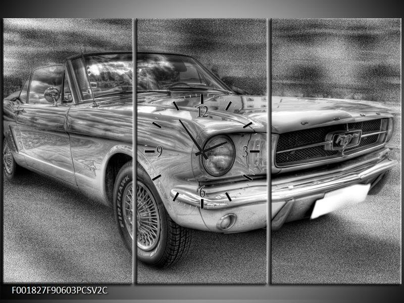 Klok schilderij Mustang   Zwart, Wit, Grijs   90x60cm 3Luik