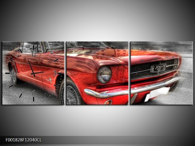 Klok schilderij Mustang   Rood, Zwart   120x40cm 3Luik