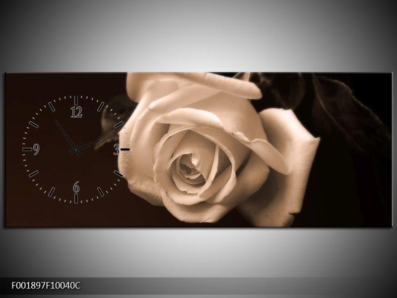 Klok schilderij Roos | Sepia, Bruin | 100x40cm 1Luik