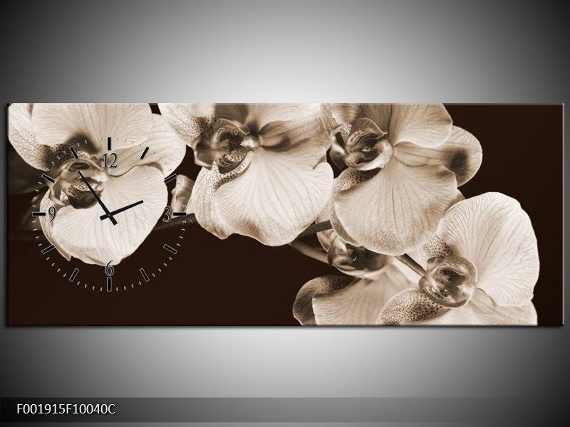 Klok schilderij Orchidee | Sepia, Bruin | 100x40cm 1Luik