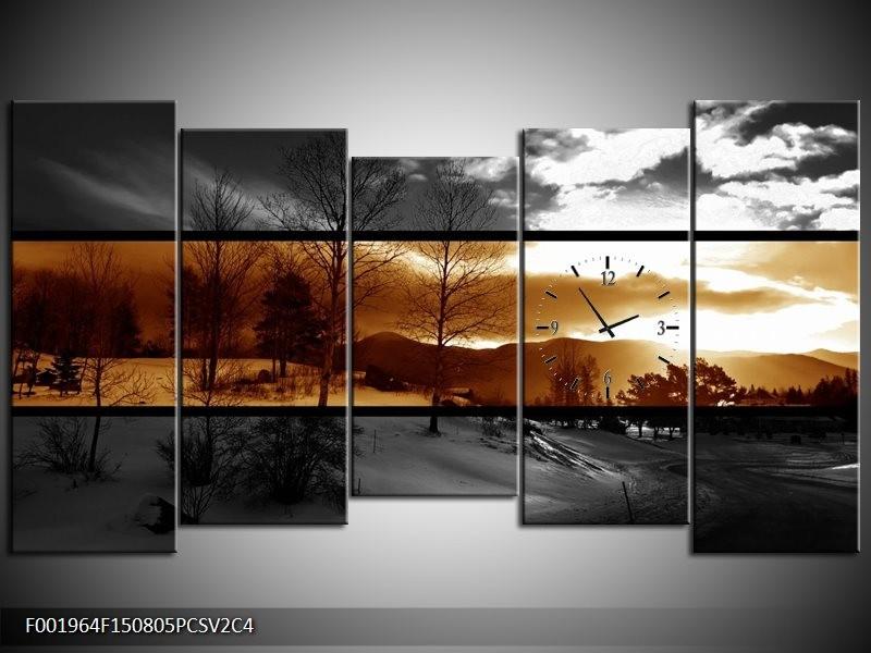 Klok schilderij Natuur | Sepia, Bruin | 150x80cm 5Luik