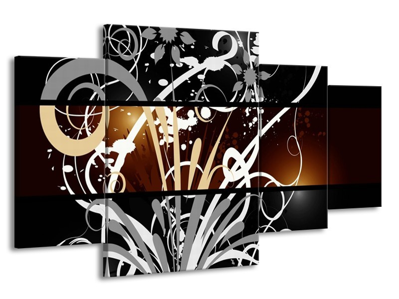 Canvas schilderij Abstract   Sepia, Bruin   160x90cm 4Luik