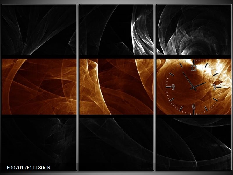 Klok schilderij Abstract | Sepia, Bruin | 111x80cm 3Luik