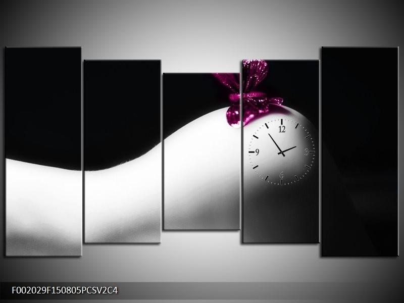 Klok schilderij Vlinder | Wit, Zwart, Paars | 150x80cm 5Luik