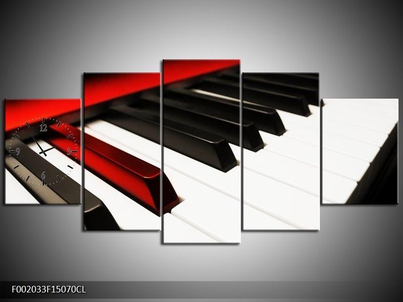 Klok schilderij Piano | Zwart, Wit, Rood | 150x70cm 5Luik
