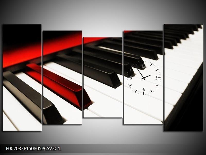 Klok schilderij Piano | Zwart, Wit, Rood | 150x80cm 5Luik