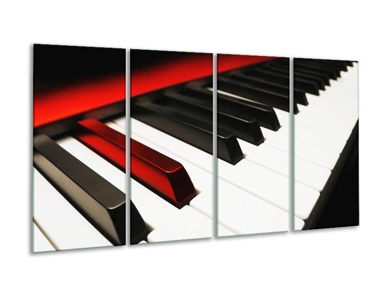 Glas schilderij Piano | Zwart, Wit, Rood | 160x80cm 4Luik