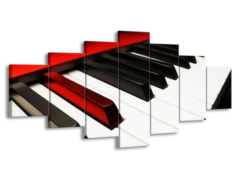 Glas schilderij Piano | Zwart, Wit, Rood | 210x100cm 7Luik