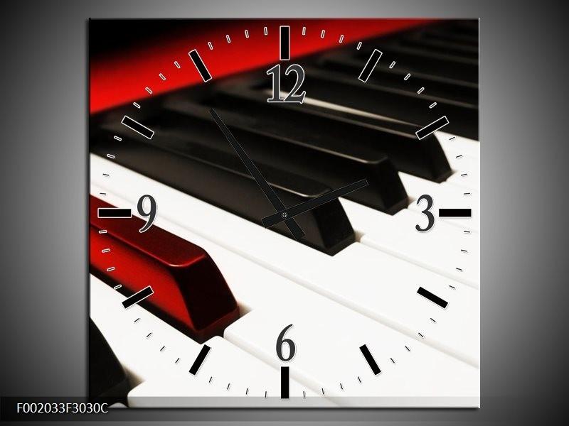 Klok schilderij Piano | Zwart, Wit, Rood | 30x30cm 1Luik