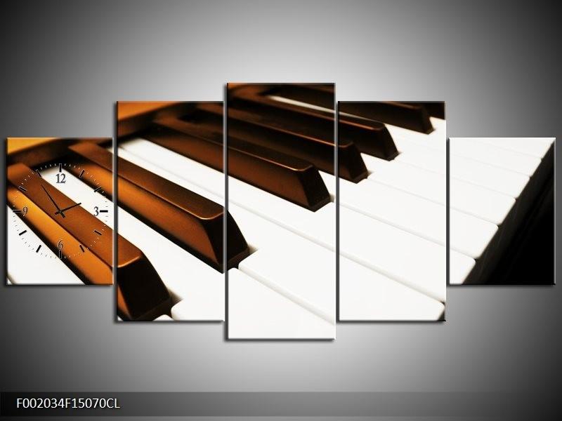 Klok schilderij Piano | Bruin, Zwart, Wit | 150x70cm 5Luik