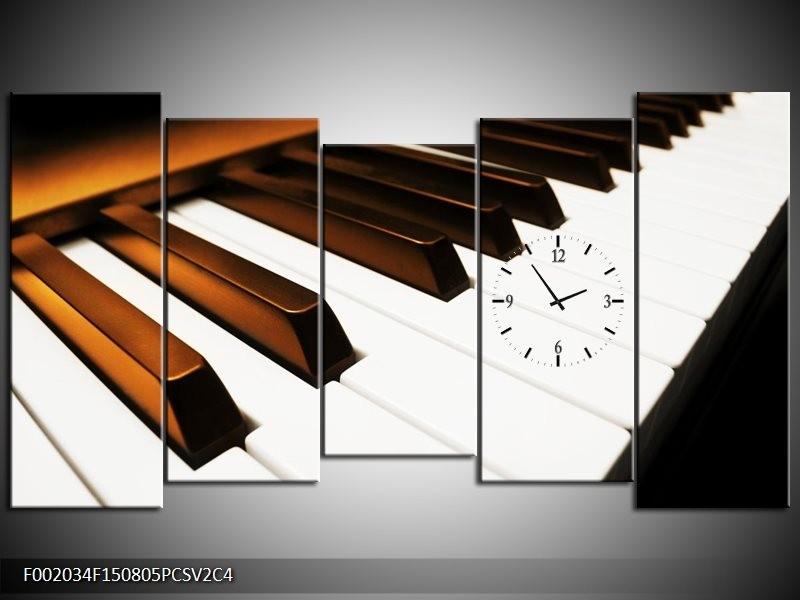 Klok schilderij Piano | Bruin, Zwart, Wit | 150x80cm 5Luik