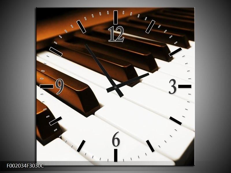 Klok schilderij Piano | Bruin, Zwart, Wit | 30x30cm 1Luik