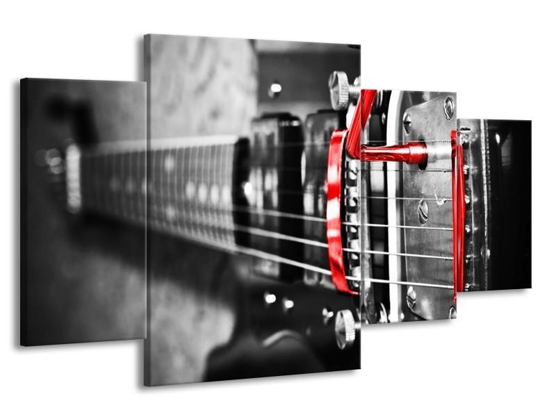 Glas schilderij Gitaar | Zwart, Grijs, Rood | 160x90cm 4Luik