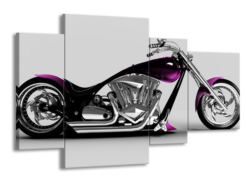 Canvas schilderij Motor | Grijs, Zwart, Paars | 120x75cm 4Luik