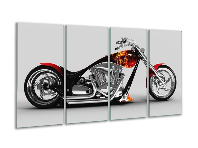 Glas schilderij Motor | Grijs, Zwart, Oranje | 160x80cm 4Luik