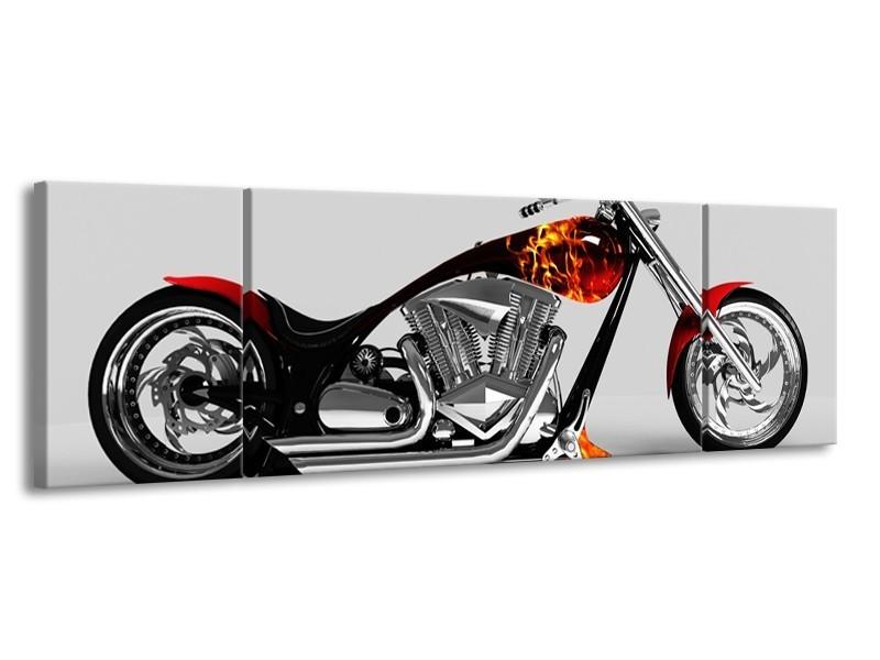 Canvas schilderij Motor | Grijs, Zwart, Oranje | 170x50cm 3Luik