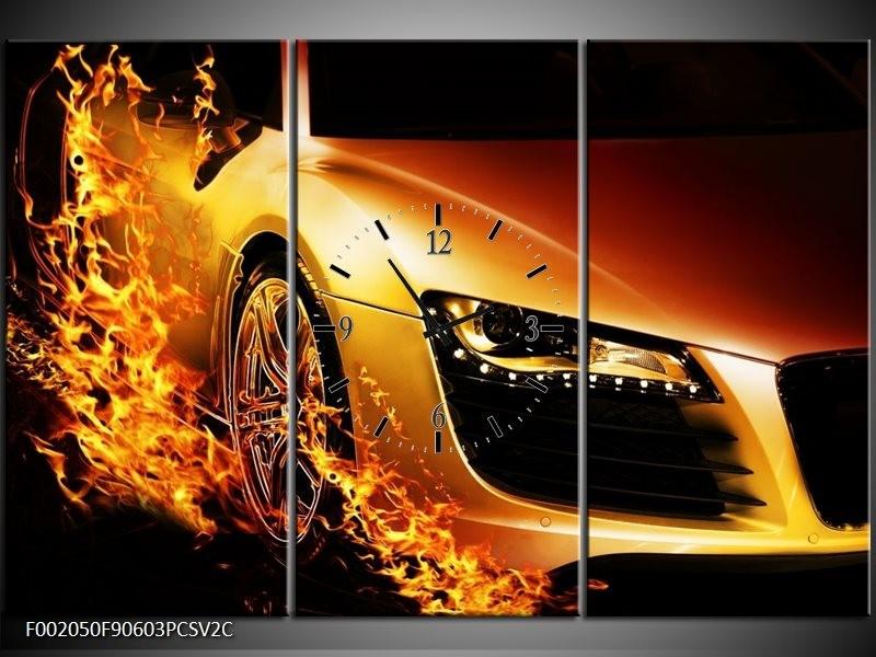 Klok schilderij Auto   Oranje, Goud, Zwart   90x60cm 3Luik