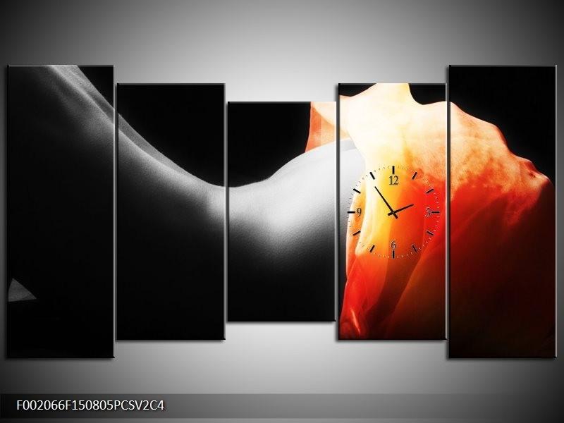Klok schilderij Lichaam | Zwart, Wit, Oranje | 150x80cm 5Luik