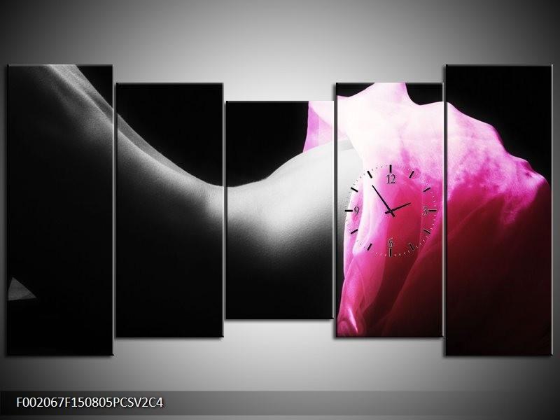 Klok schilderij Lichaam | Zwart, Wit, Roze | 150x80cm 5Luik