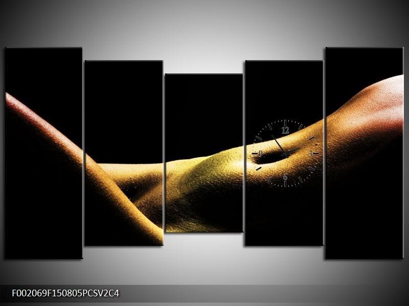 Klok schilderij Lichaam | Zwart, Groen, Goud | 150x80cm 5Luik