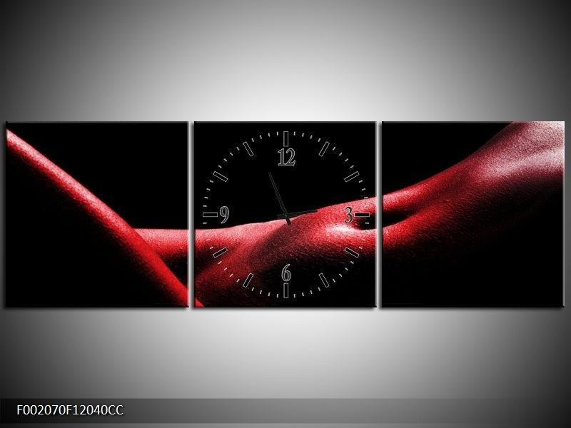 Klok schilderij Vrouw | Rood, Zwart | 120x40cm 3Luik