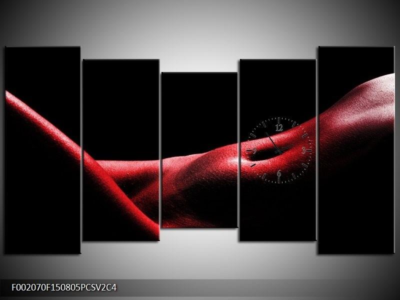 Klok schilderij Vrouw | Rood, Zwart | 150x80cm 5Luik