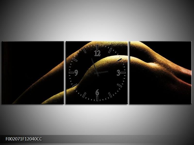 Klok schilderij Lichaam | Zwart, Groen, Goud | 120x40cm 3Luik